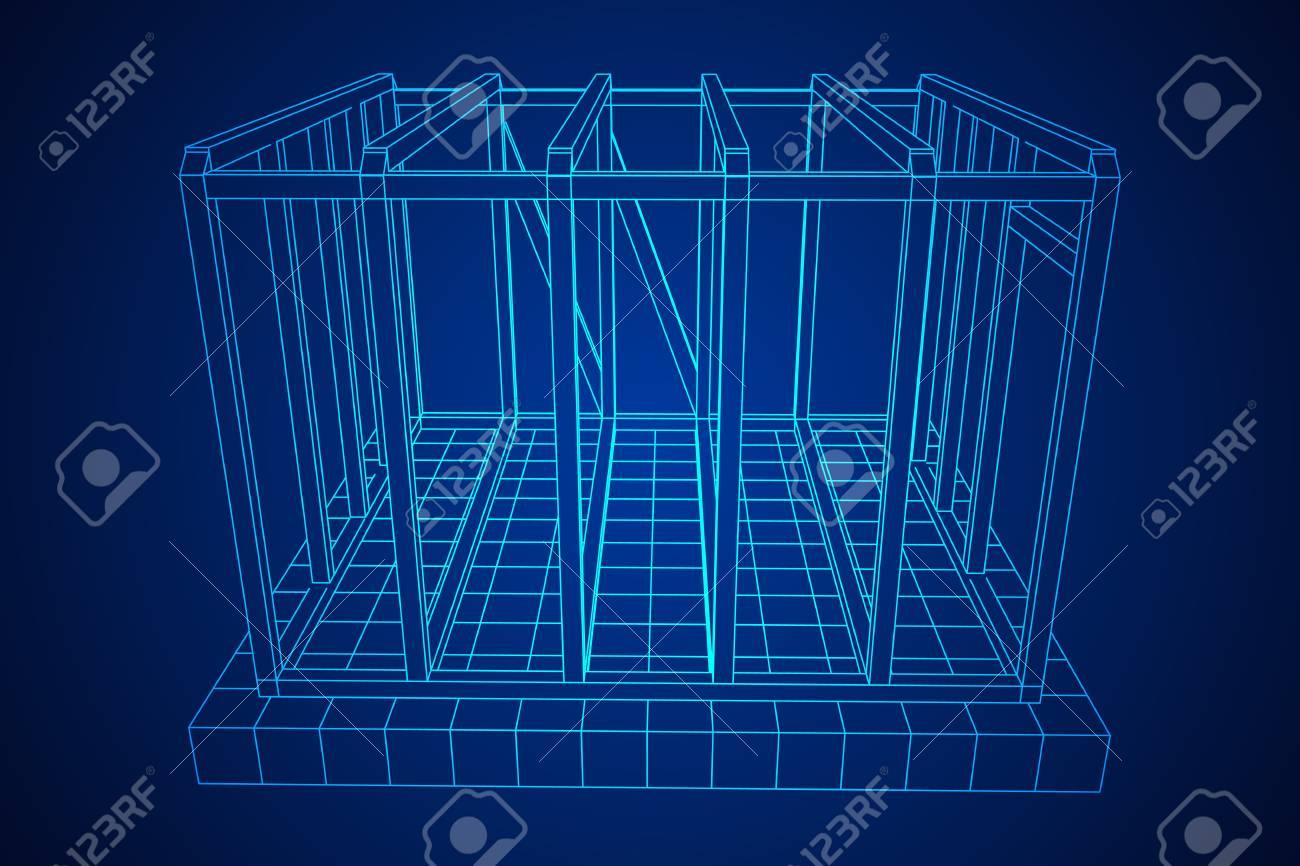 Wireframe framing house - 104389035