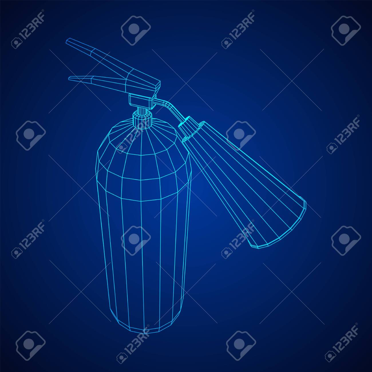 Fire extinguisher. Wireframe low poly mesh vector illustration. - 148406386
