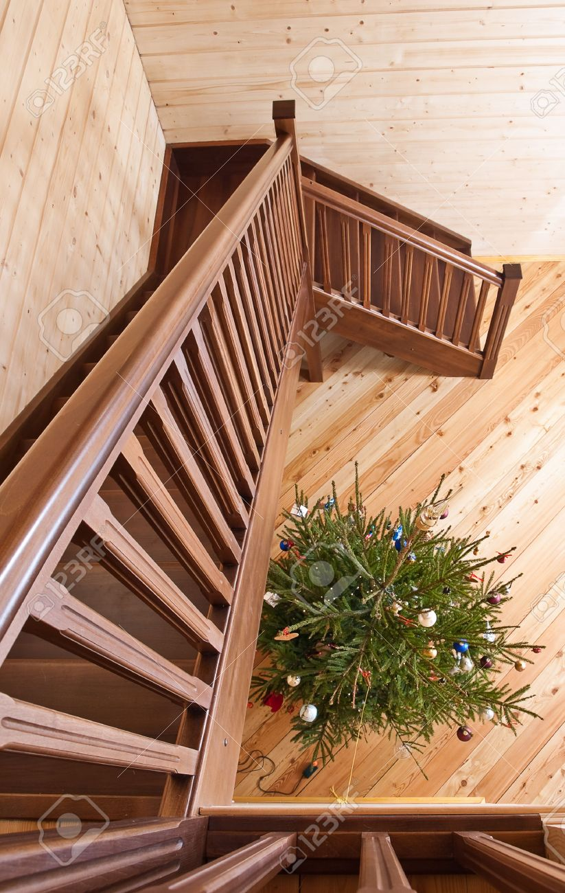 Wooden staircase in country house Stock Photo - 6259416