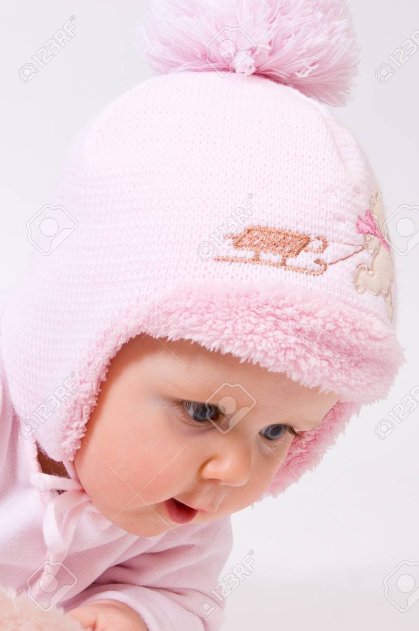 Little child baby in a pink hat Stock Photo - 8883953