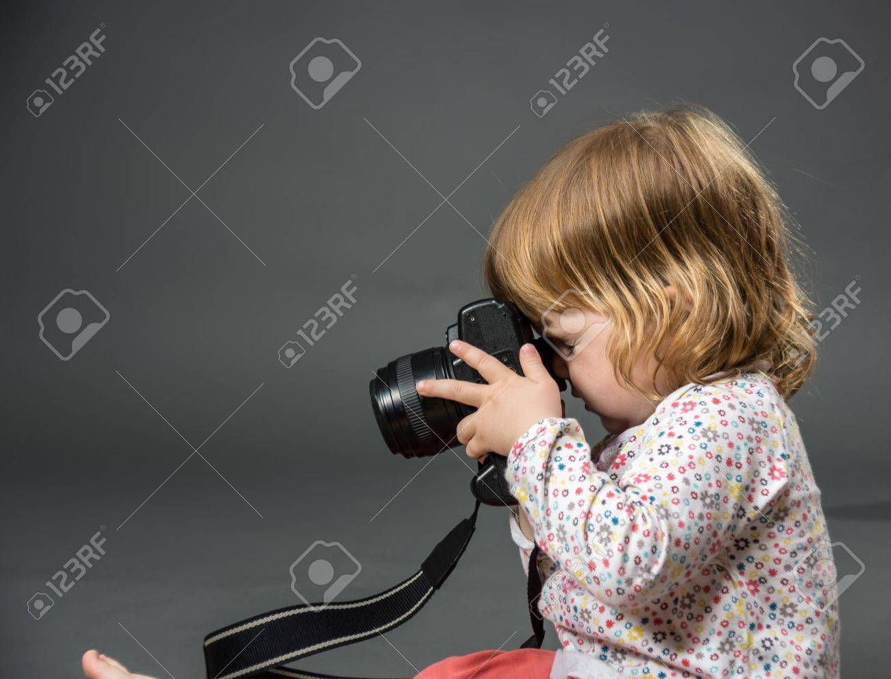 Little child with mirror photo camera - 14224716