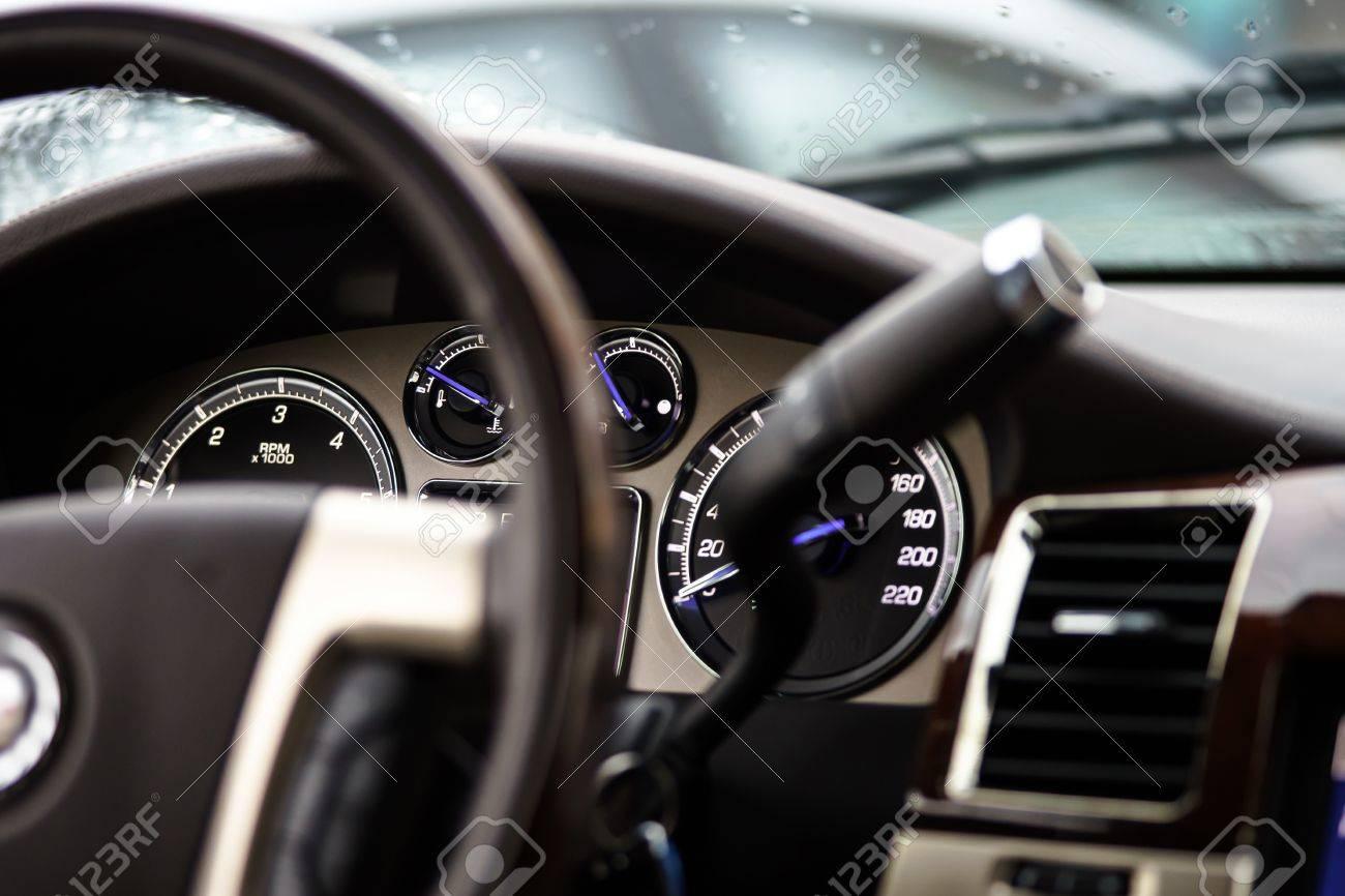 Luxe Auto Dashboard Automatische Transmissie Blauwe Lichten En