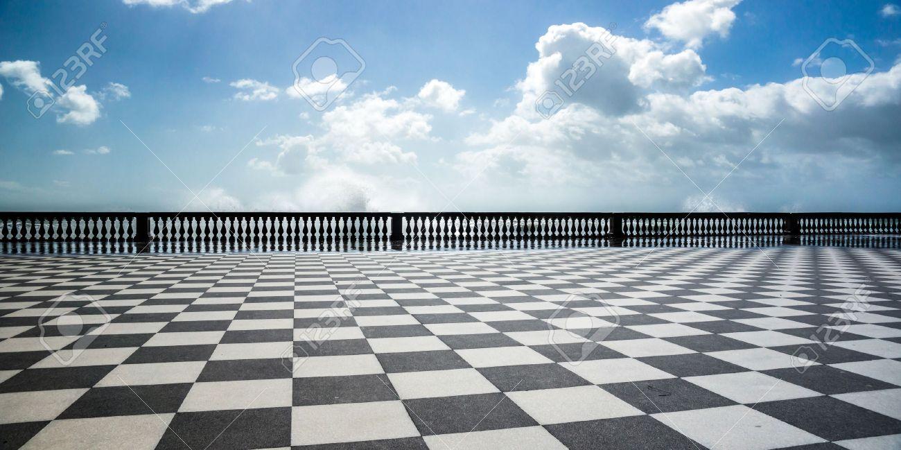 Checkered floor in city square. Livorno, Tuscany, Italy. - 20220083