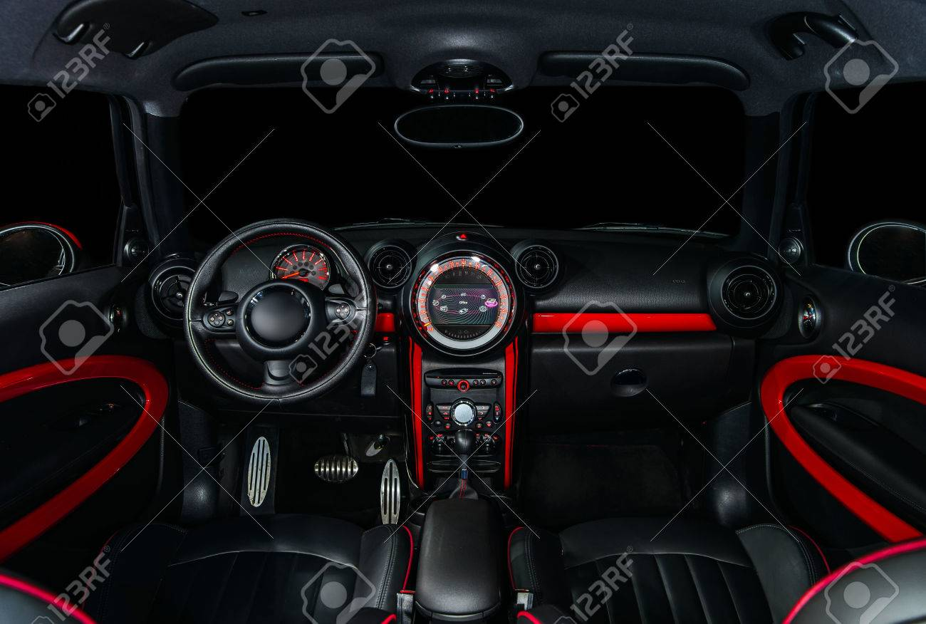 Sport Car Interior In Red And Black Colors Stock Photo Picture And