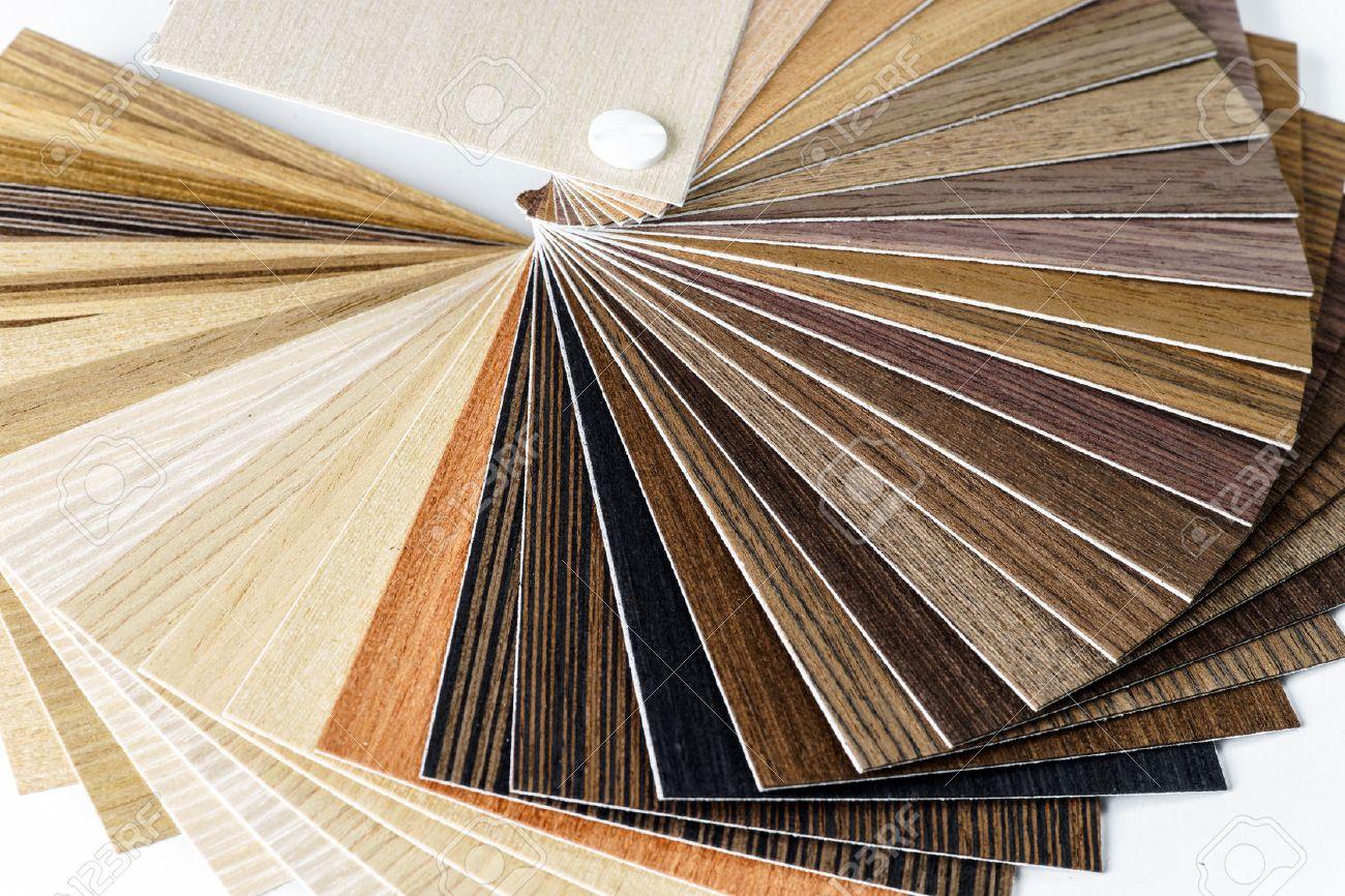 Thin wooden samples sheaf. Interior design industry. - 24345597