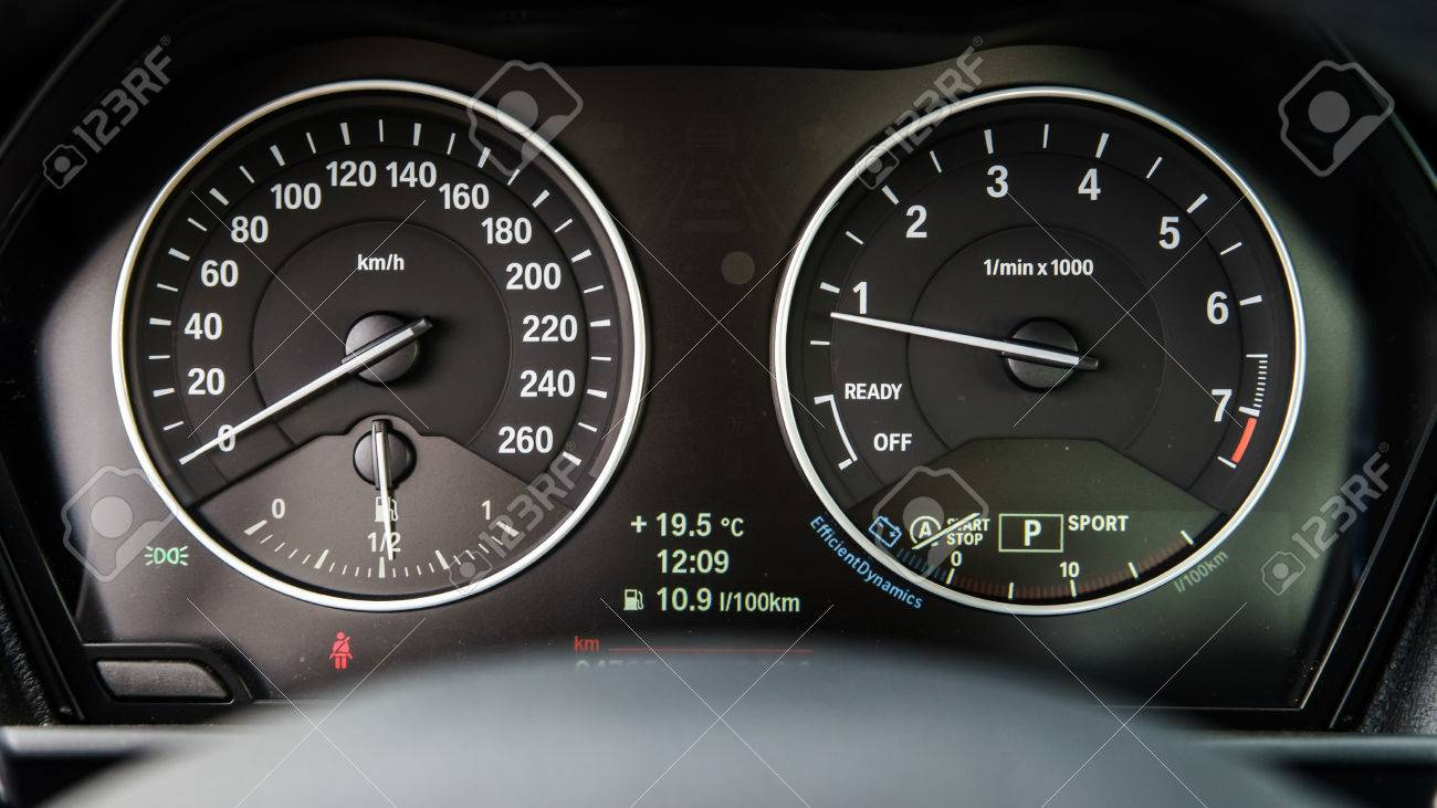 Luxury Car Dashboard Speed And Sound Auto Details Stock Photo