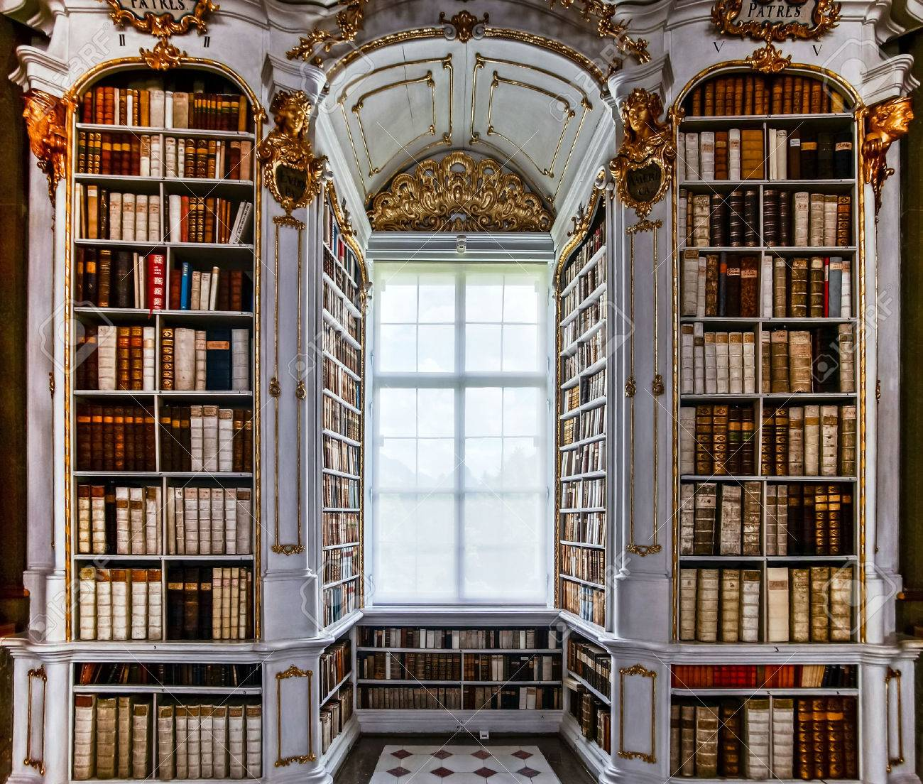 Great biggest library in old abbey, baroque style - 29589520