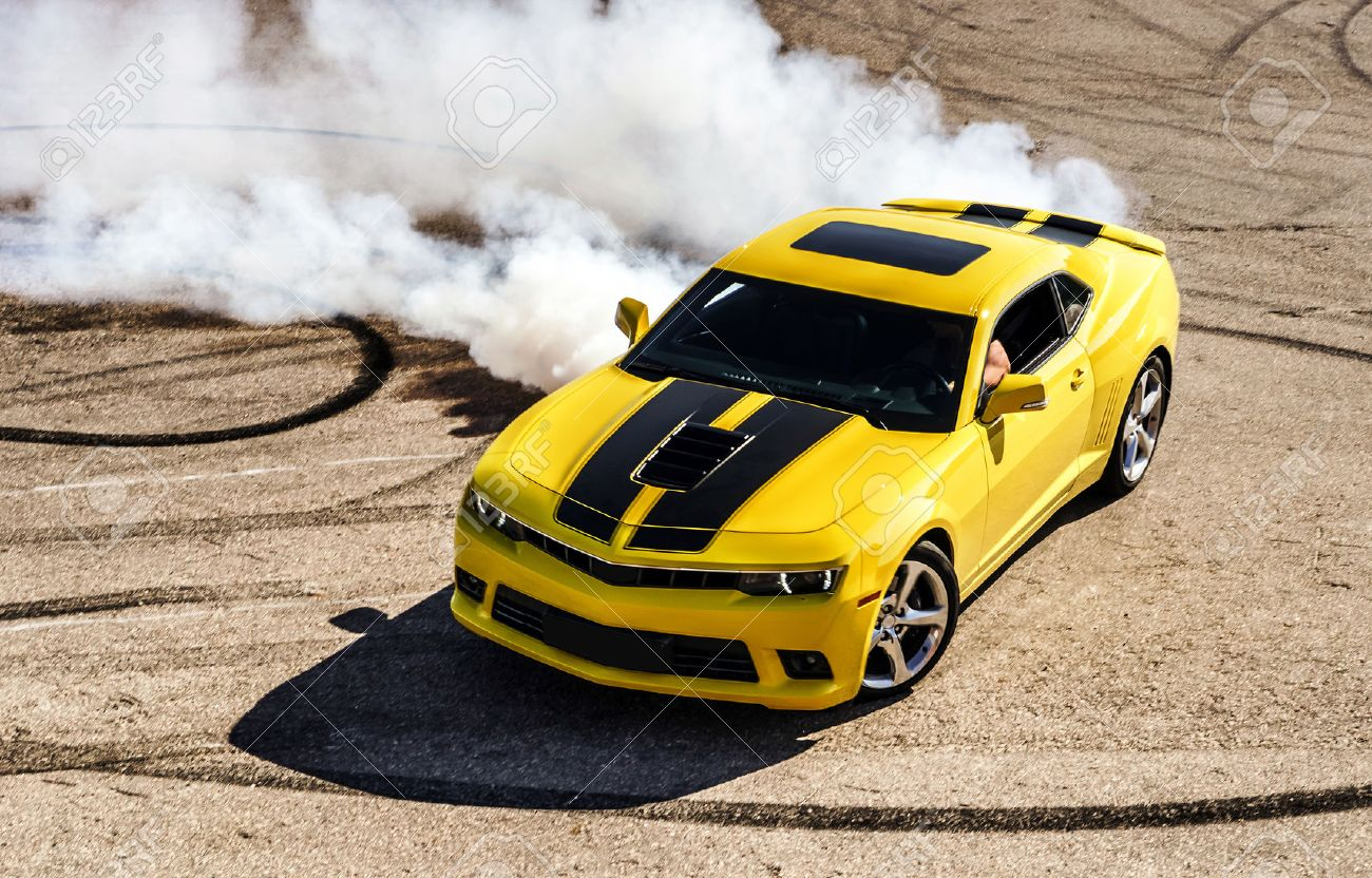 Luxury yellow sport car drifting, motion capture - 30596779