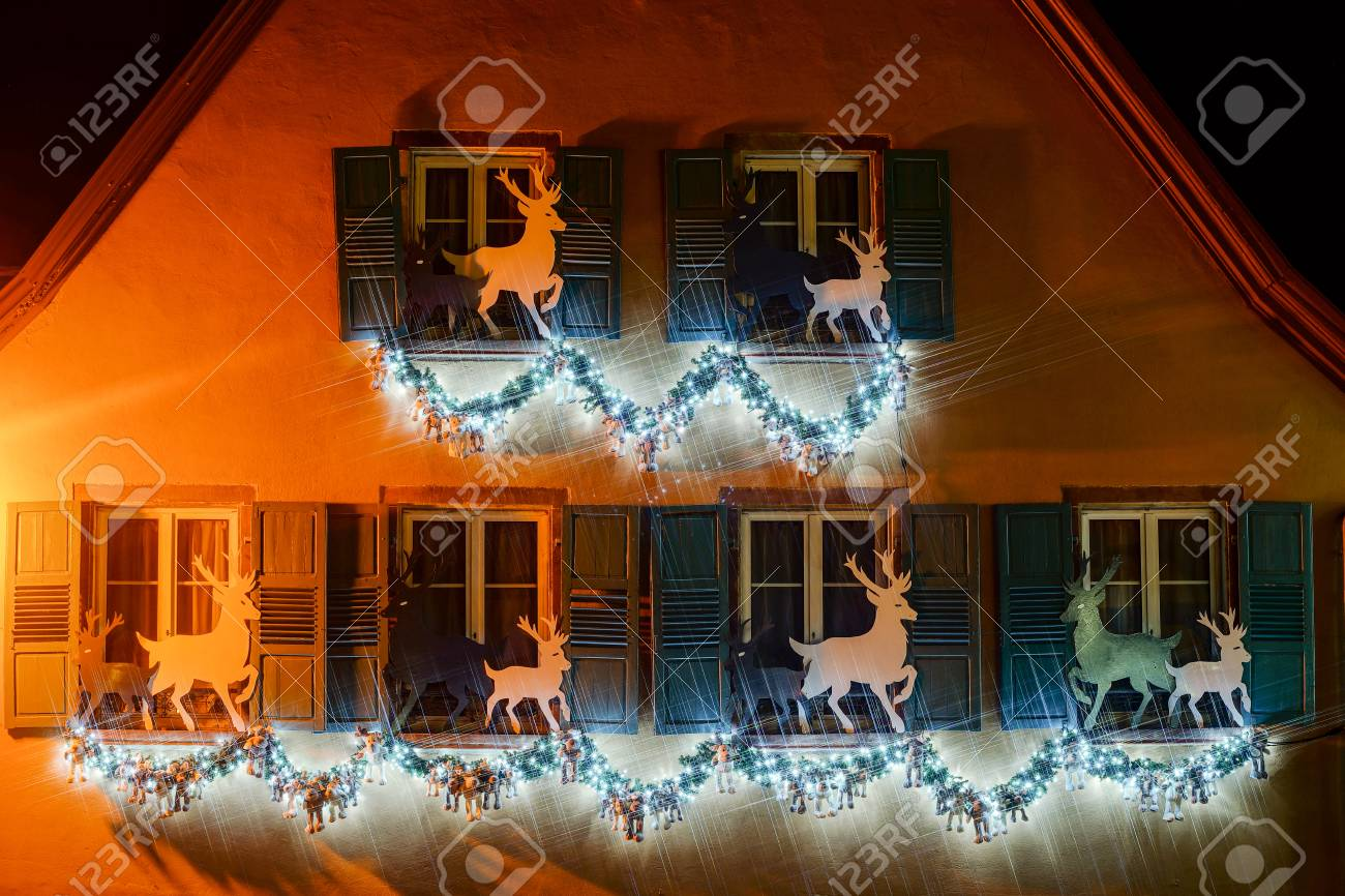 french house lighting. Christmas Illumination And Decoration Of Typical French House, Gertwiller, France Stock Photo - 48524484 House Lighting