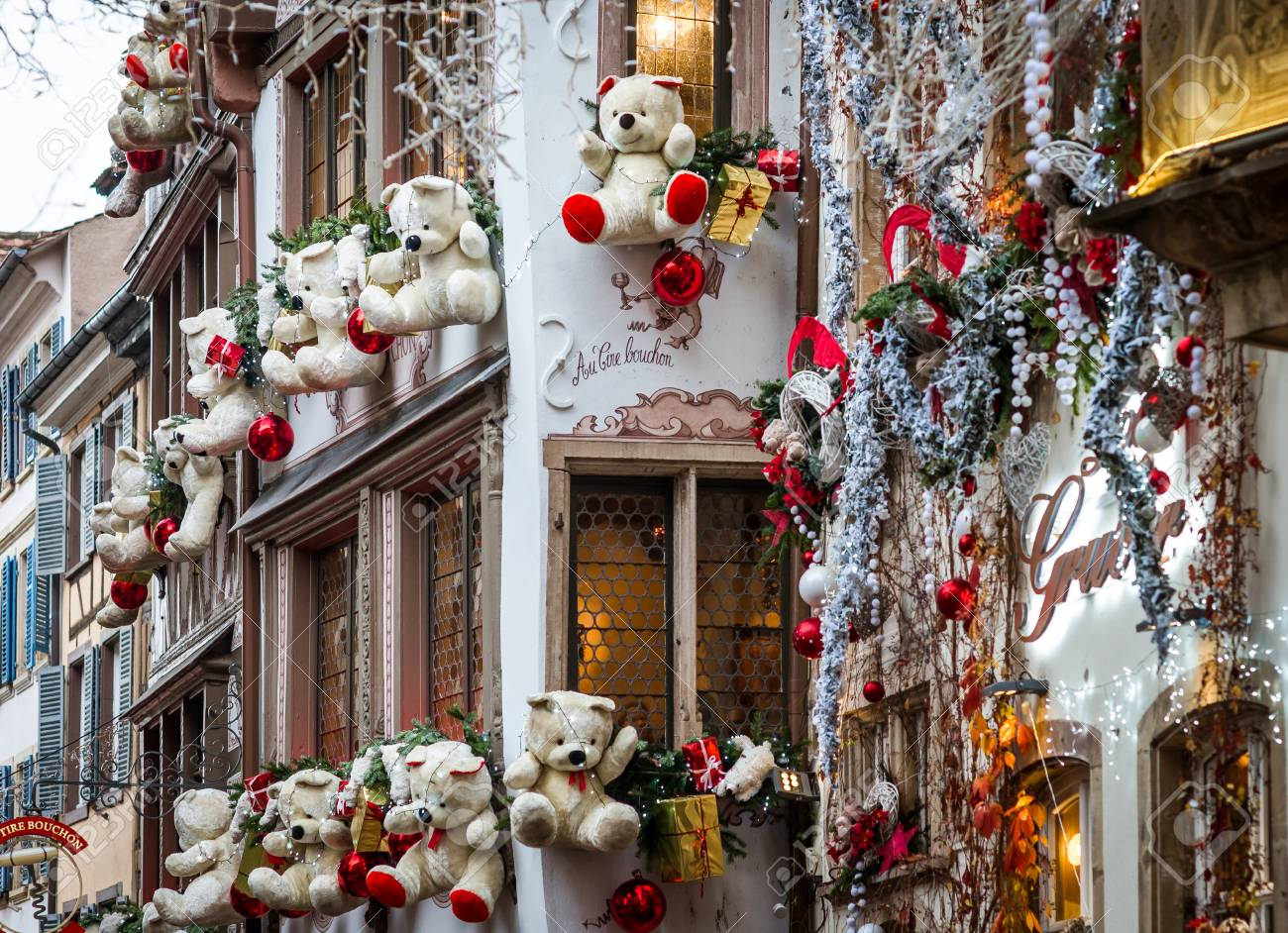 Christmas In France Decorations.Outdoor Christmas Decoration In Strasbourg Alsace France