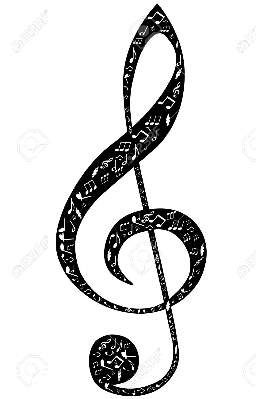 treble clef design by musical notes on a white background royalty rh 123rf com Gold Music Notes Music Notes Trebel