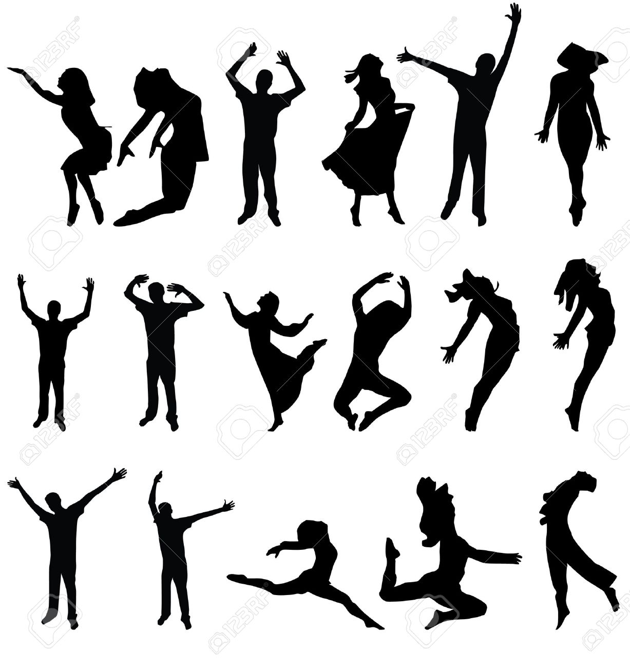 dance many people silhouette. vector illustration Stock Vector - 4203412