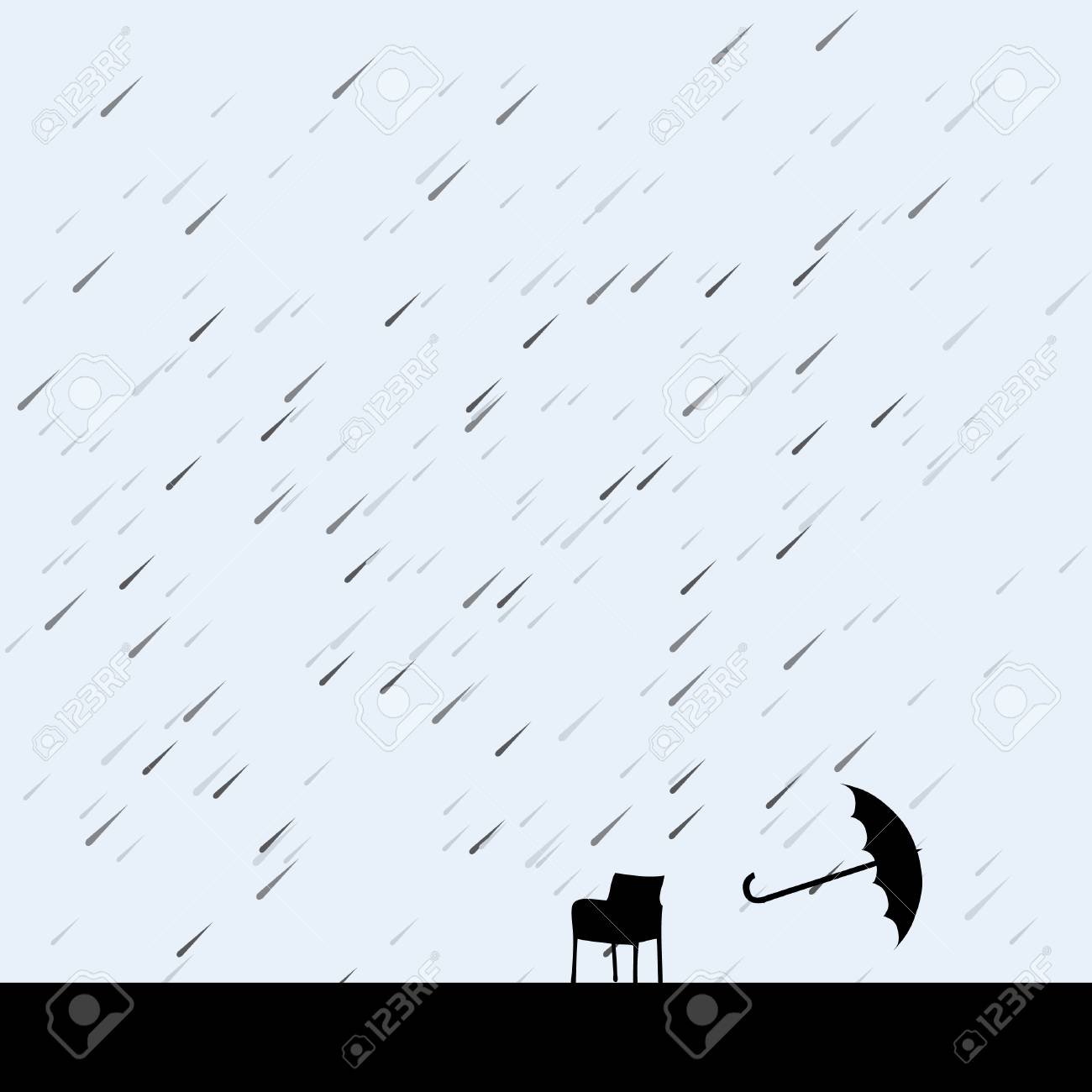 rain and umbrella over chair, vector illustration Stock Vector - 5165772