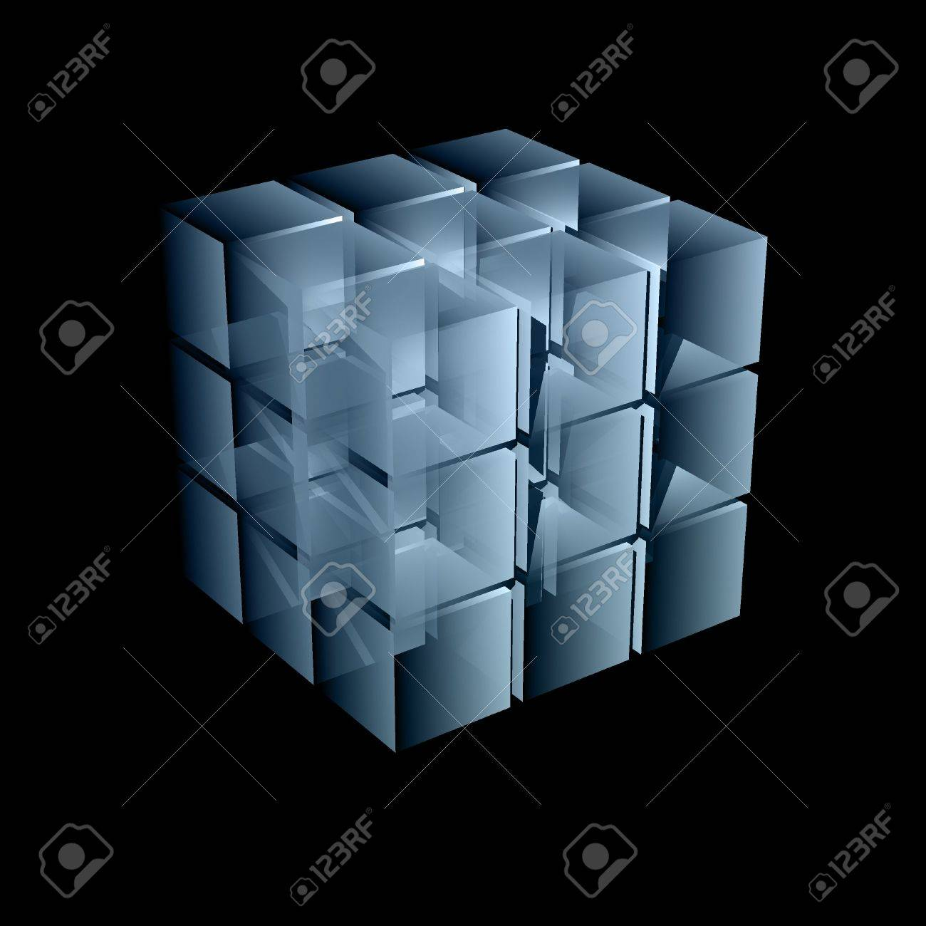 abstract transparent cube in light blue color 3d illustration Stock Photo - 6028768
