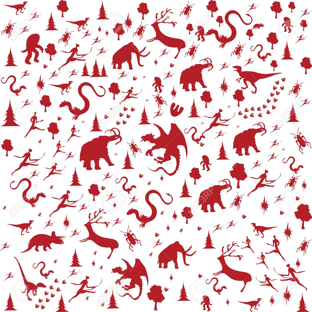seamless background with Prehistoric Era, animals in red color Stock Vector - 11139739