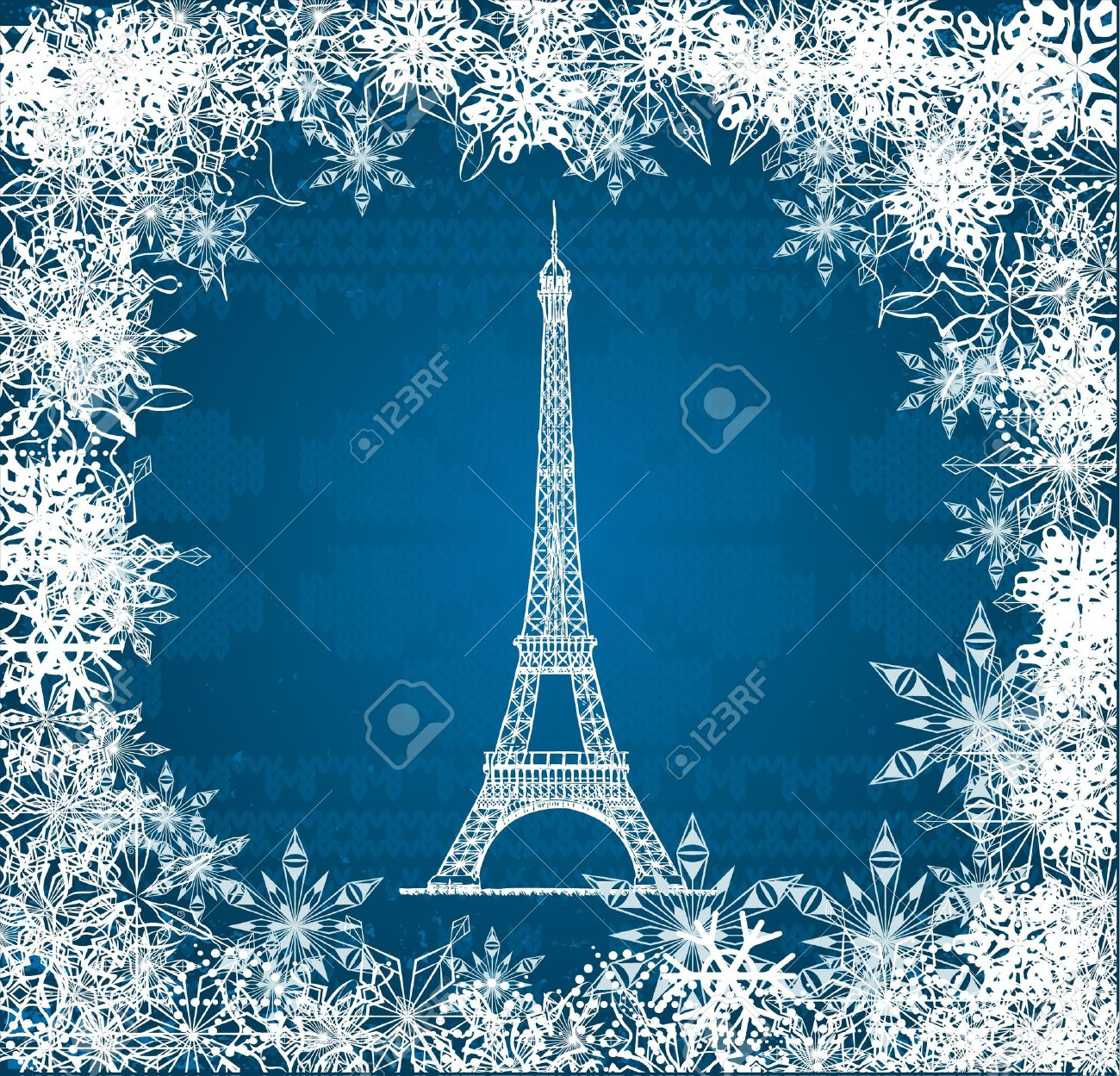 Vector Eiffel Tower with snowflakes on blue knitted background Stock Vector - 11271720