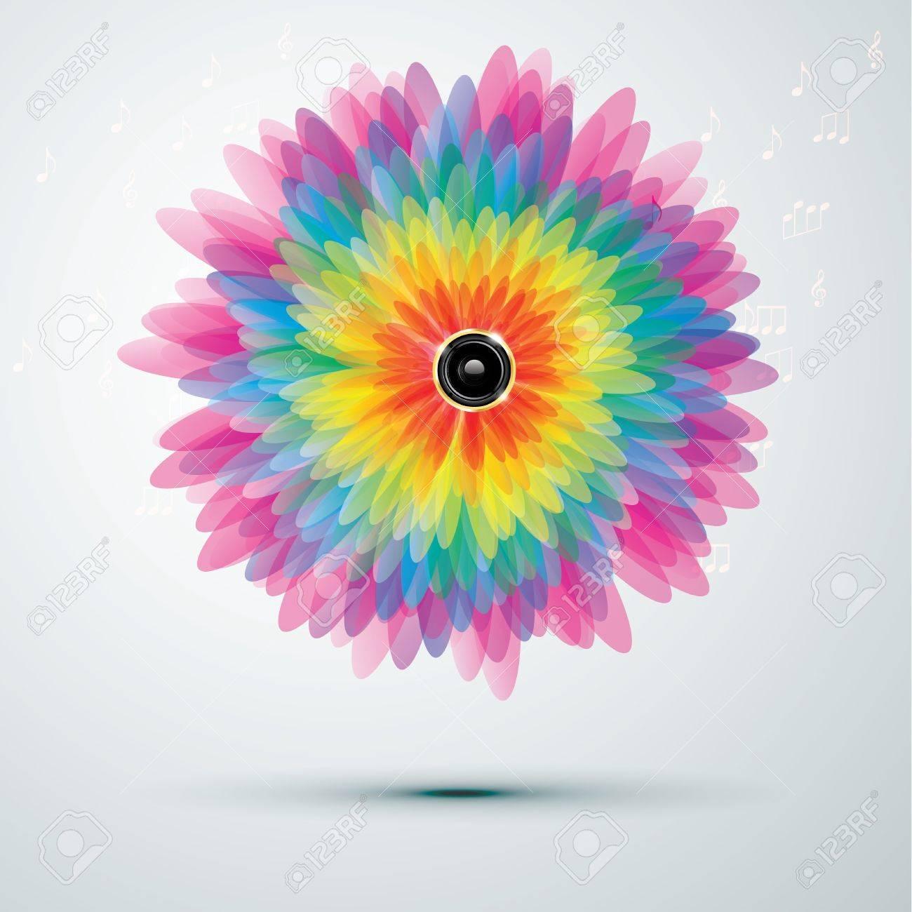 黄金のスピーカーと大きな虹の花...