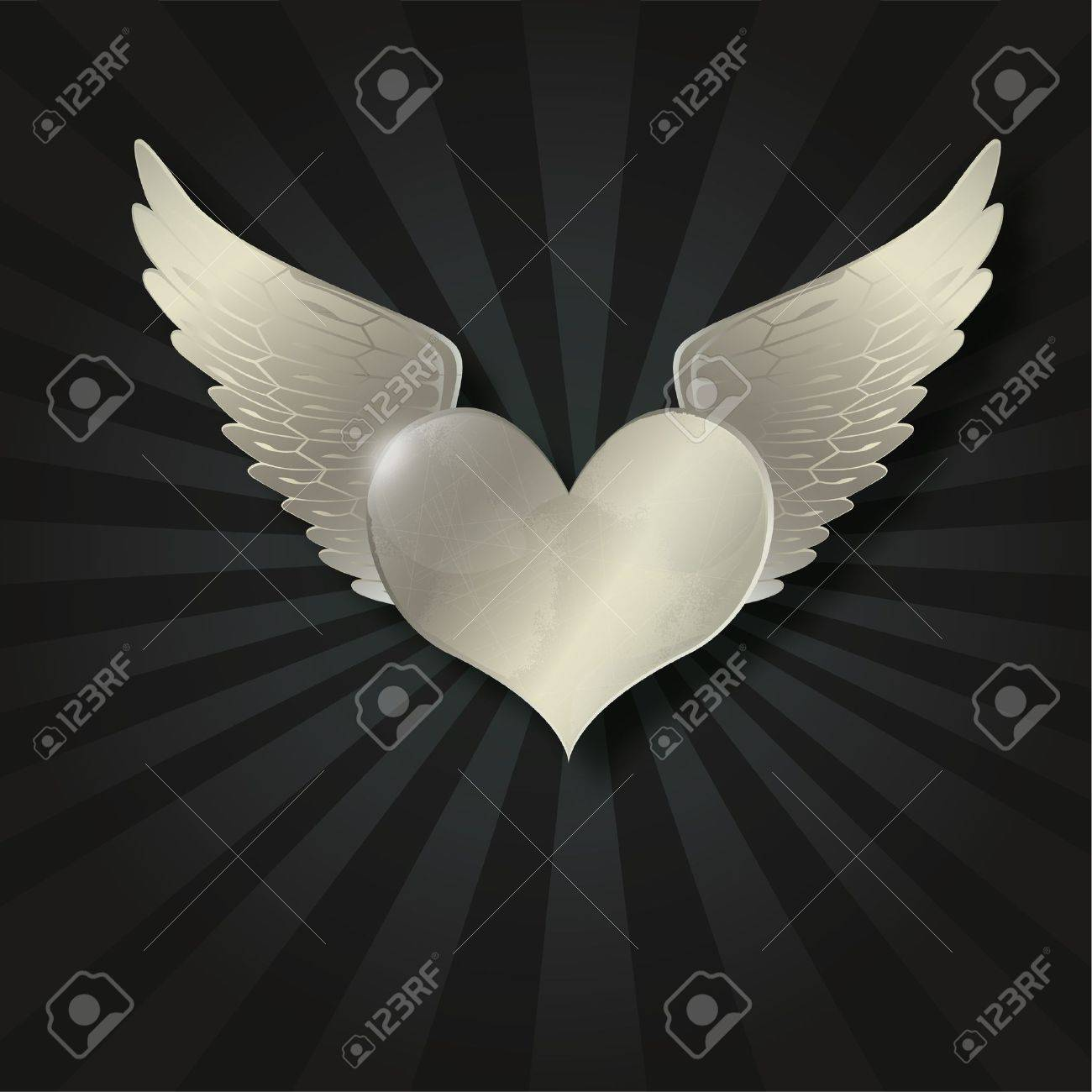 Valentine metal heart with wing in the dark radiant black background Stock Vector - 11863749