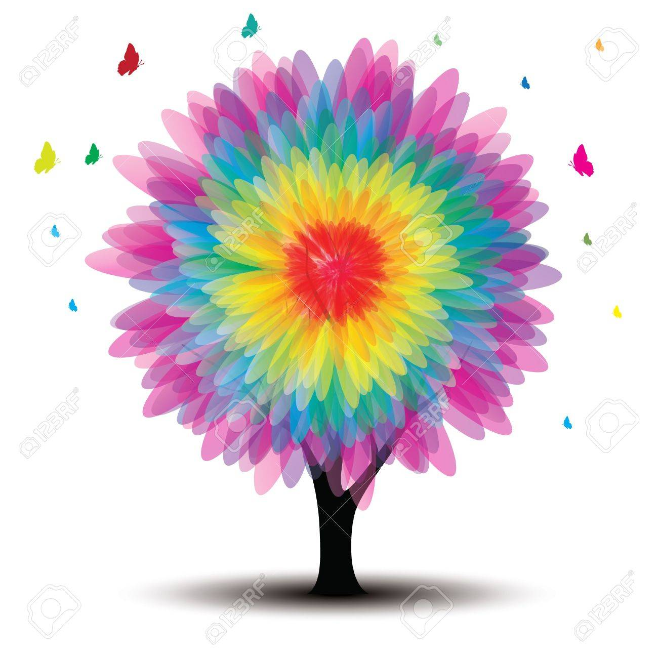 vector tree with flower and butterflies on white - 12773797