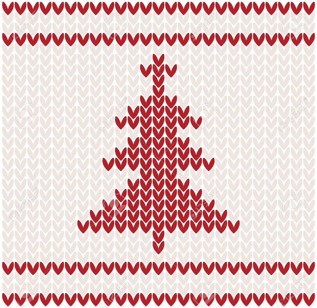 Christmas Tree Knitted Pattern Illustration Royalty Free Cliparts ...