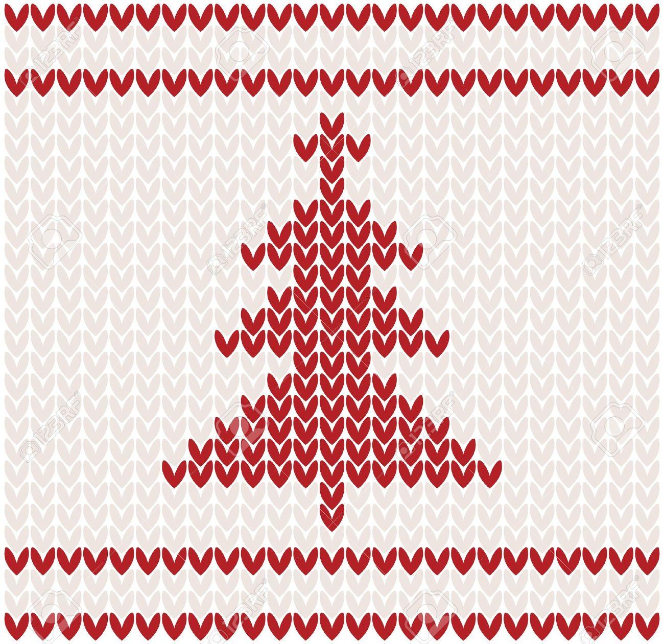 Rbol De Navidad Ilustración Patrón De Punto Ilustraciones ...