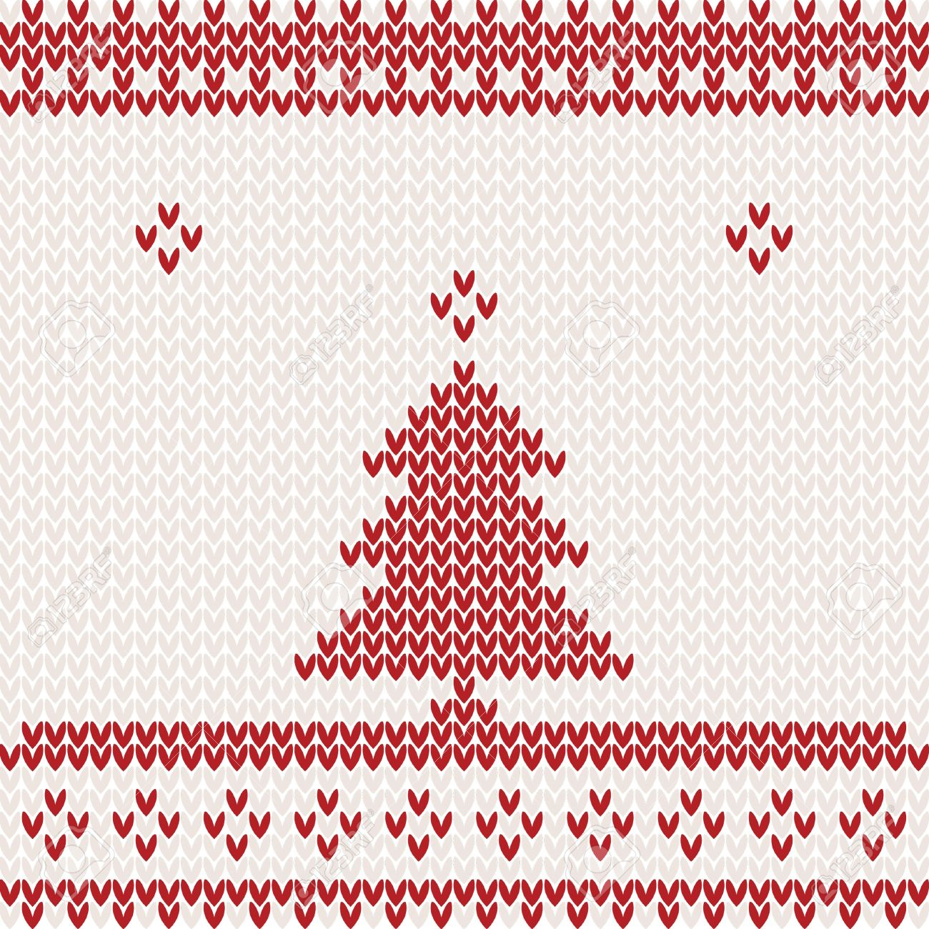 Knitted Background With Christmas Tree Stock Vector   16707384