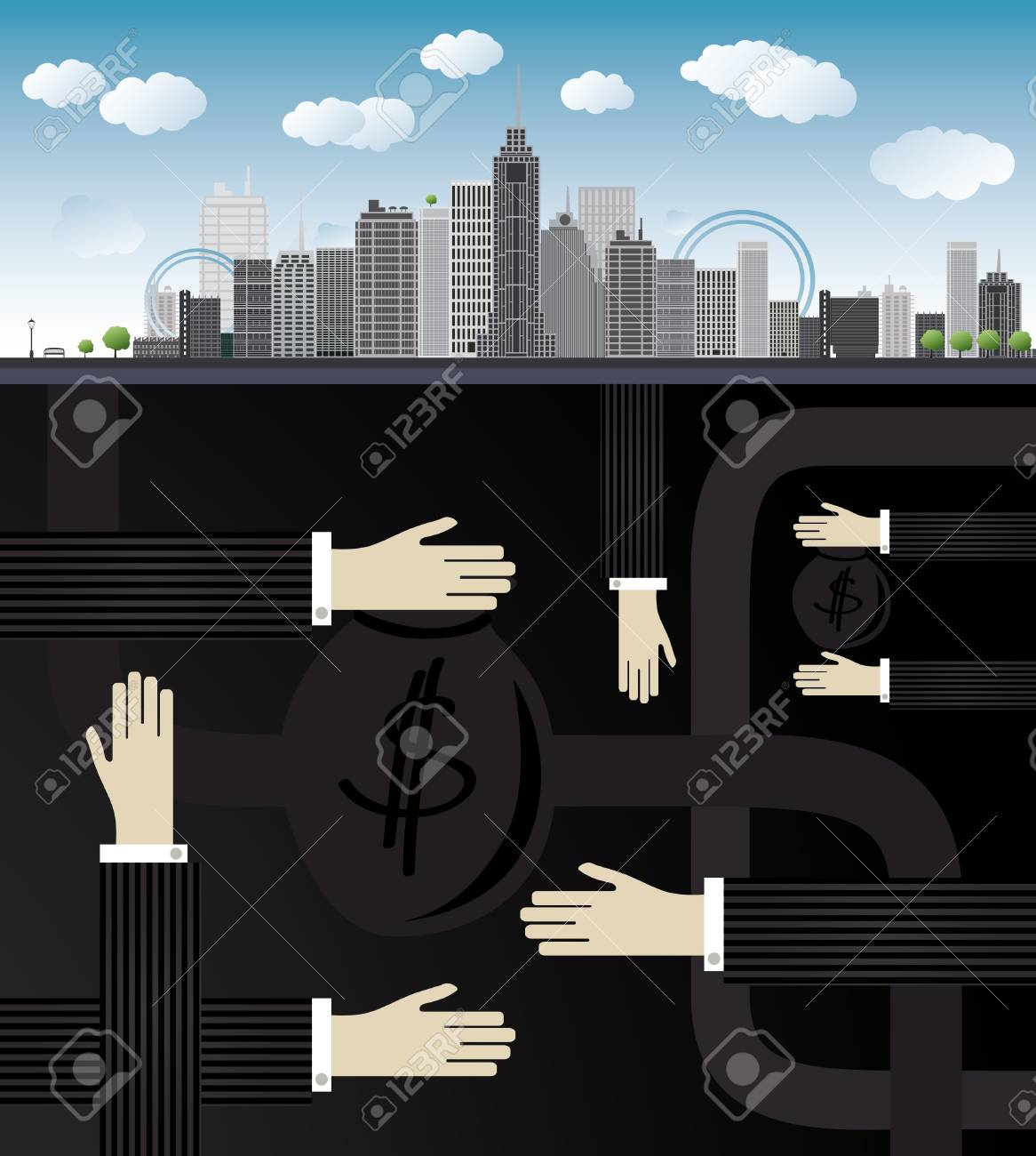 shadow economy illustration. Hand, giving money in bag to other hand, under city Stock Vector - 17474545