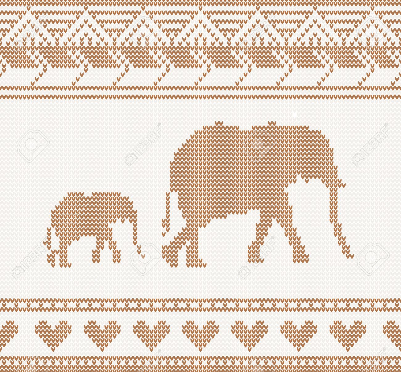 Knitted Pattern With Elephant Seamless Vector Illustration Royalty ...