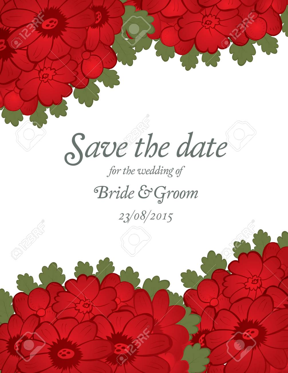Save The Date Wedding Invitation Card Template With Red Flowers ...