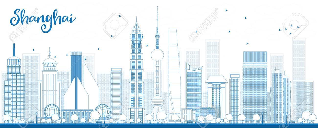 青い高層ビル群と上海スカイラインの概要を説明しますベクトル図の