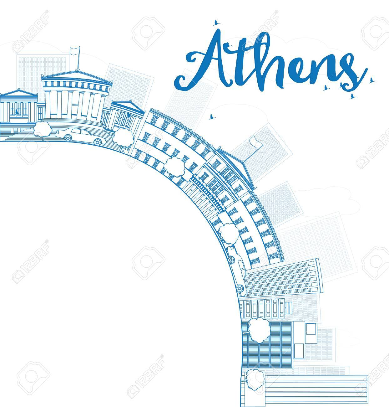 Outline athens skyline with blue buildings and copy space stock vector - Outline Athens Skyline With Blue Buildings And Copy Space Vector Illustration Stock Vector 43084355