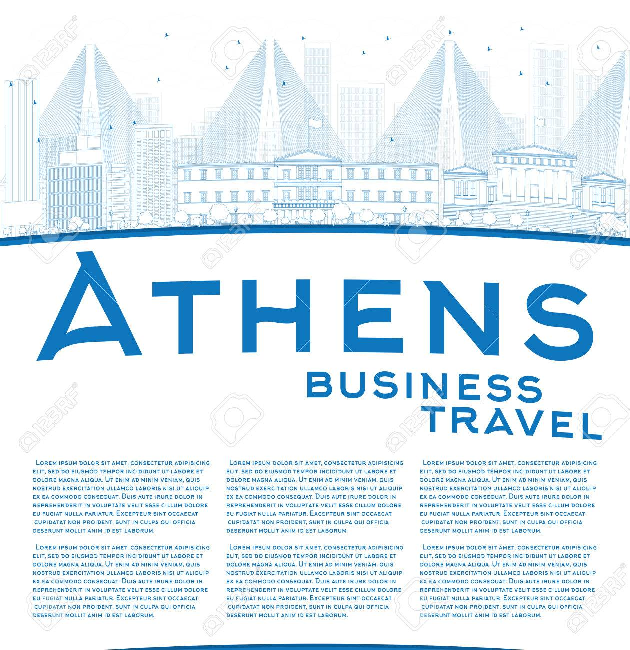 Outline athens skyline with blue buildings and copy space stock vector - Outline Athens Skyline With Blue Buildings And Copy Space Business Travel Concept Vector Illustration