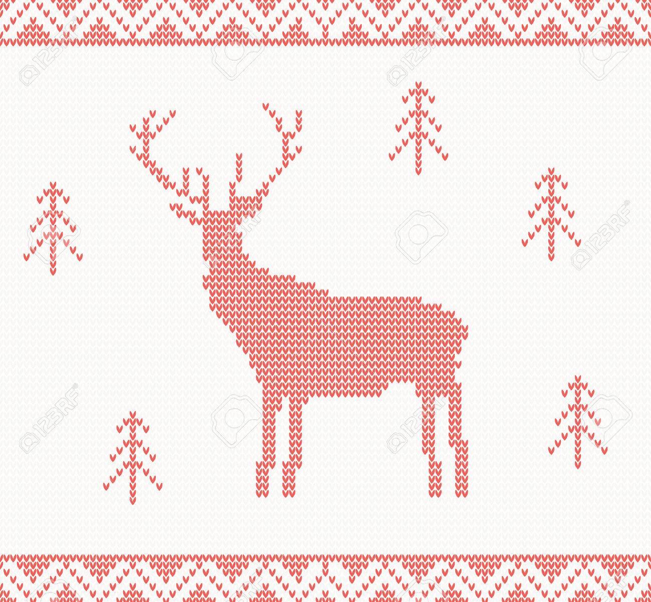 Fondo De Punto De Navidad Con Ciervos, árboles Y Adornos ...