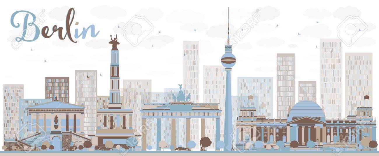 Horizonte Abstracto Berlín Con La Construcción De Color. Ilustración ...