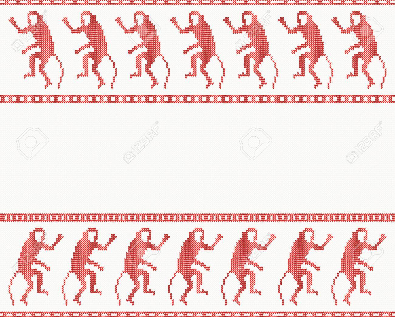 Merry Christmas Knitted Pattern With Monkey. Chinese Zodiac Symbol ...