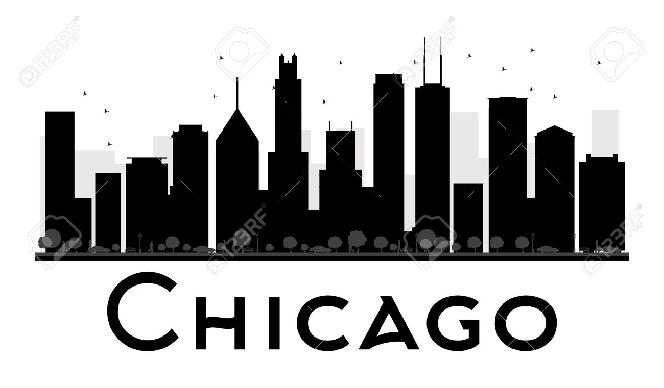 chicago city skyline black and white silhouette vector illustration rh 123rf com city silhouette vector png city skyline silhouette vector