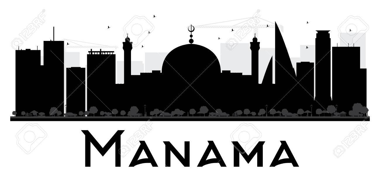 4ff2ec308363 Manama City skyline black and white silhouette. Vector illustration. Simple  flat concept for tourism