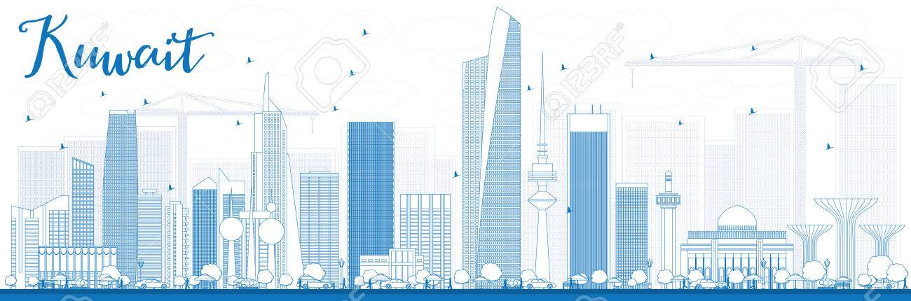 Outline Kuwait City Skyline with Blue Buildings  Vector Illustration