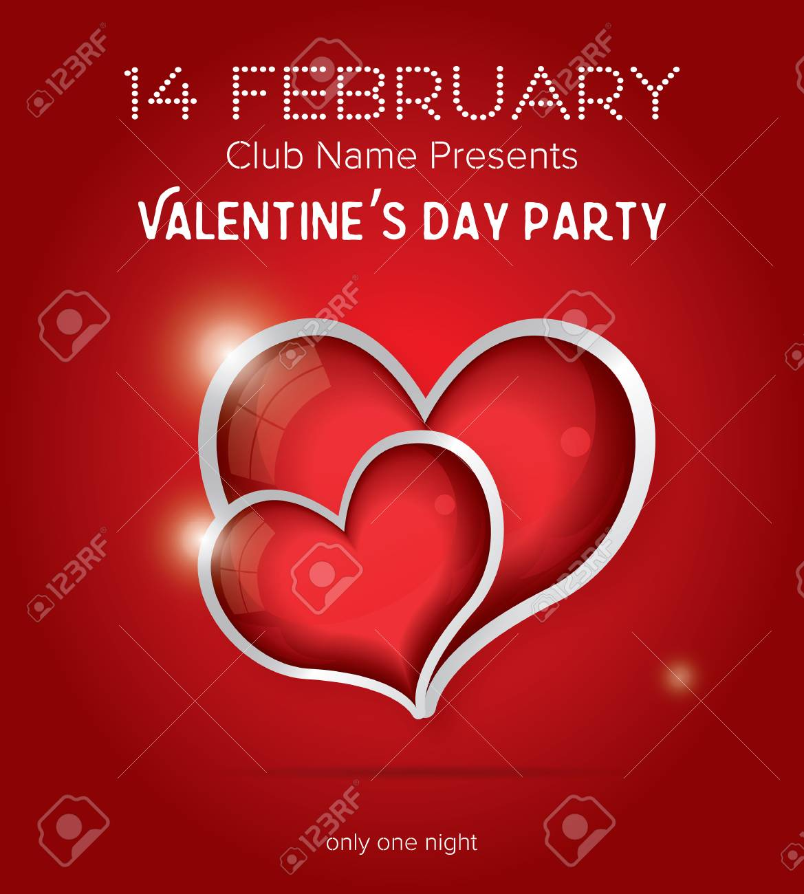 Happy Valentines Day Party Flyer Design Template Vector Illustration Club Concept With Two