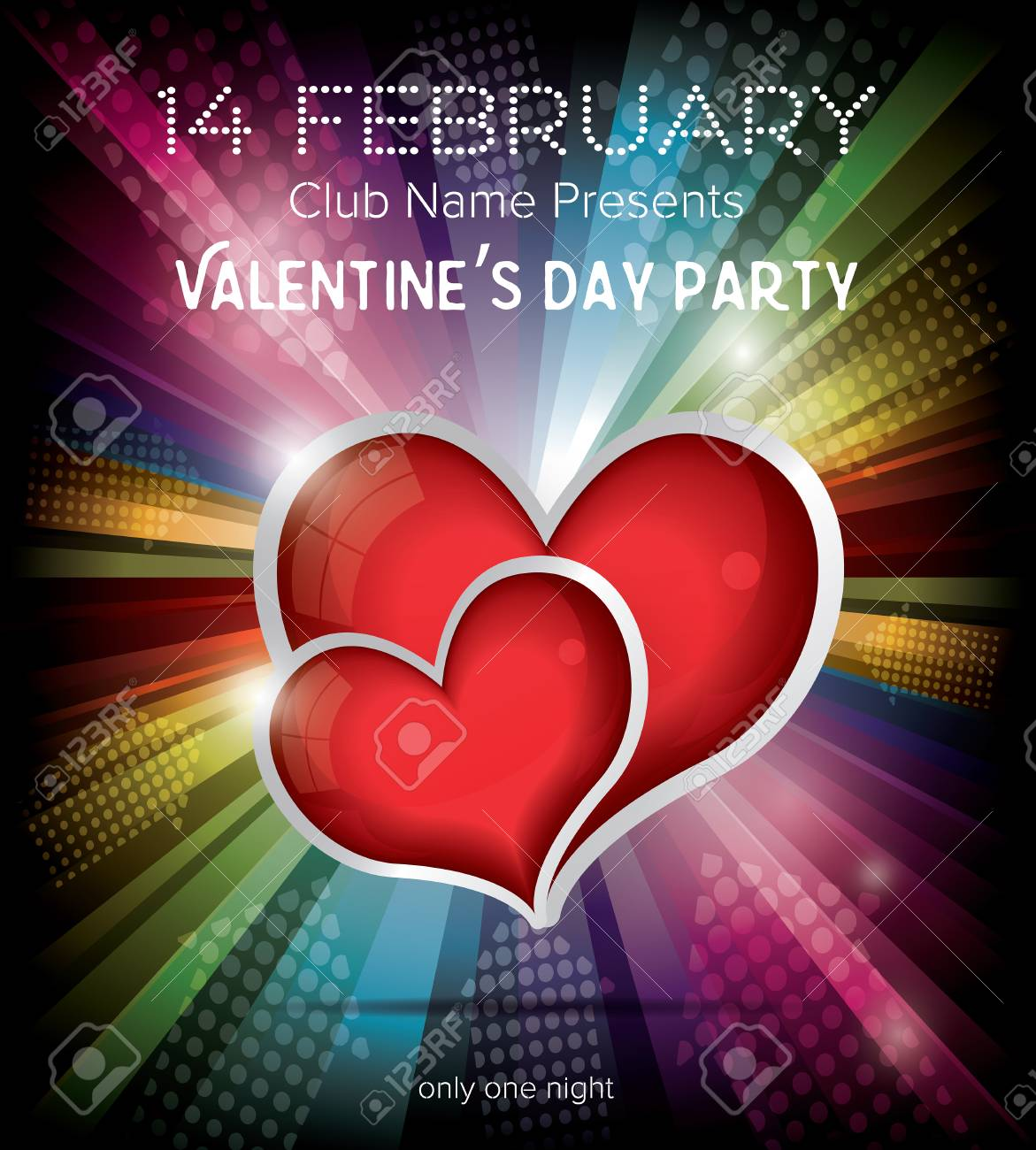 Happy Valentines Day Party Flyer Design Template On Rainbow