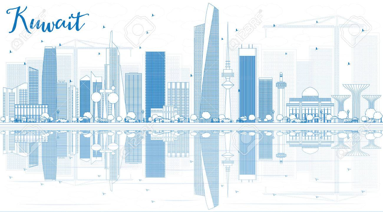 Outline kuwait city skyline with blue buildings and reflections outline kuwait city skyline with blue buildings and reflections vector illustration business travel and malvernweather Gallery