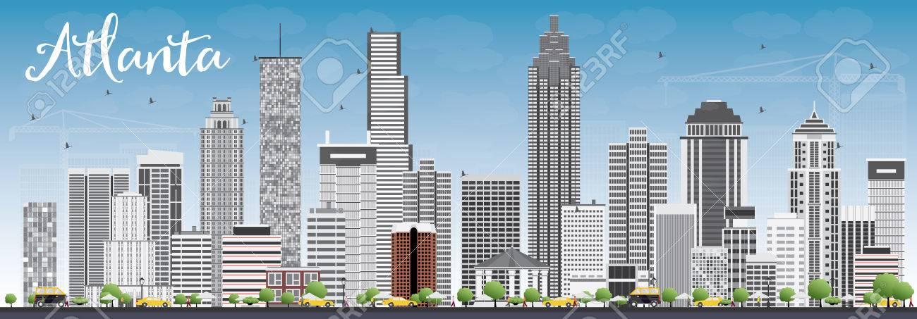 atlanta skyline with gray buildings and blue sky vector
