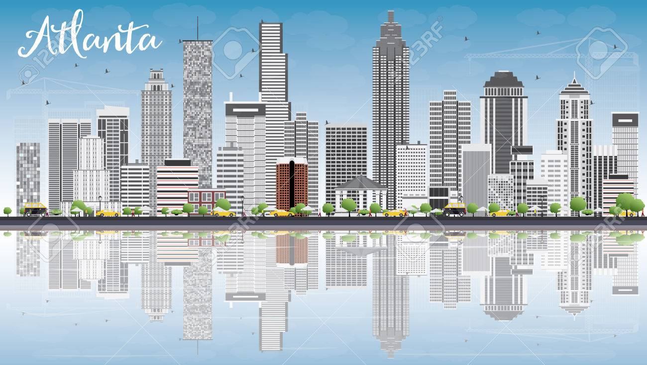 atlanta skyline with gray buildings blue sky and reflections