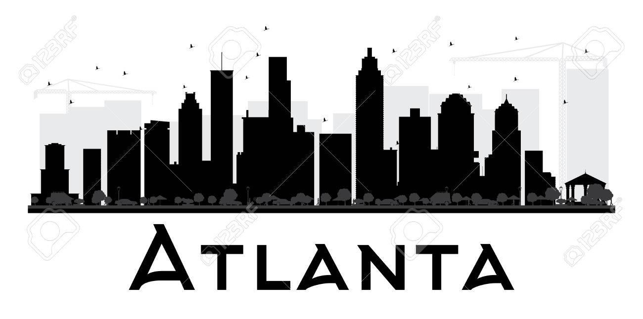 atlanta skyline der stadt schwarzweiss-silhouette. vektor-illustration.  einfache wohnung konzept für den tourismus-präsentation, banner, plakat  oder auf der website. business-travel-konzept. stadtansicht mit  sehenswürdigkeiten lizenzfrei nutzbare ...  123rf