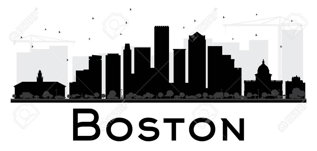 boston city skyline black and white silhouette vector illustration rh 123rf com
