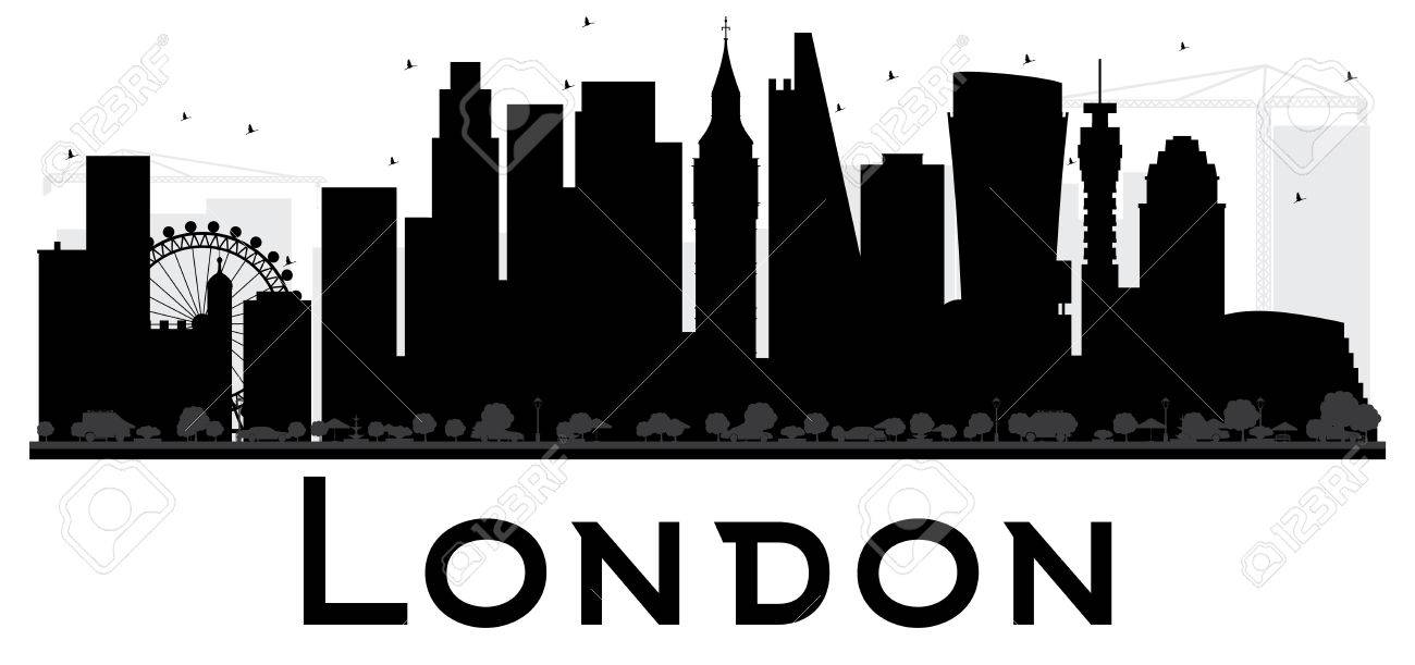London City Skyline Black And White Silhouette Vector Illustration Simple Flat Concept For Tourism