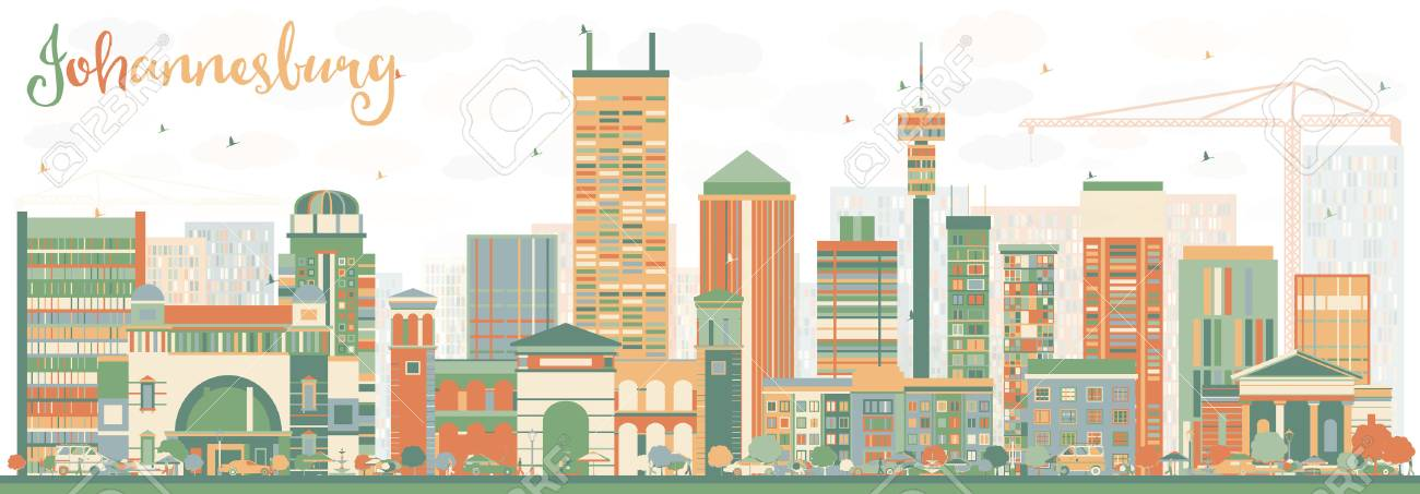 Abstract johannesburg skyline with color buildings vector abstract johannesburg skyline with color buildings vector illustration business travel and tourism concept with thecheapjerseys Images