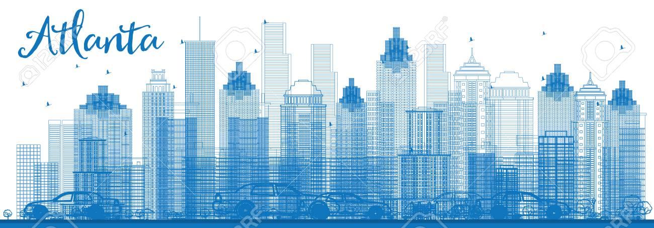 outline atlanta skyline with blue buildings vector illustration
