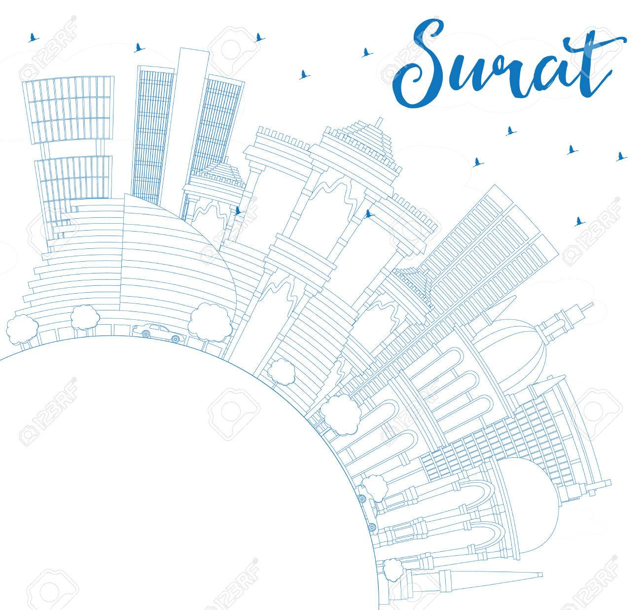 Outline Surat Skyline With Blue Buildings And Copy Space Vector
