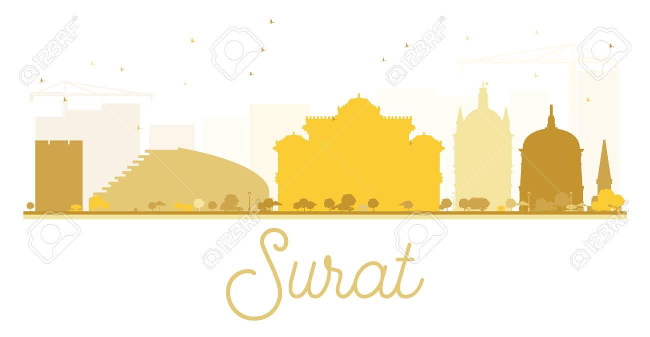 Surat City Skyline Golden Silhouette Vector Illustration Simple